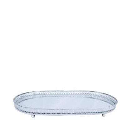 Bandeja Espelhada metal oval Flower Prata