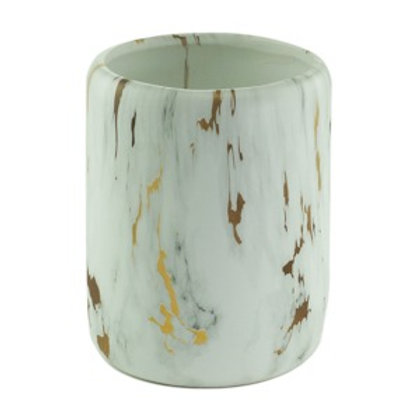 Cachepot Cerâmica Gold marble branco