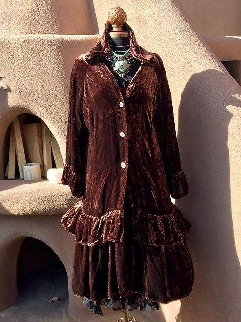 Princess Coat in Brown Velvet