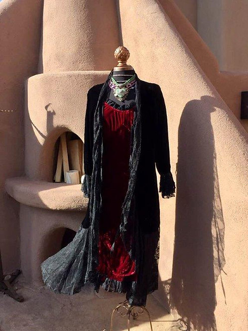 Velvet duster & Bustier dress
