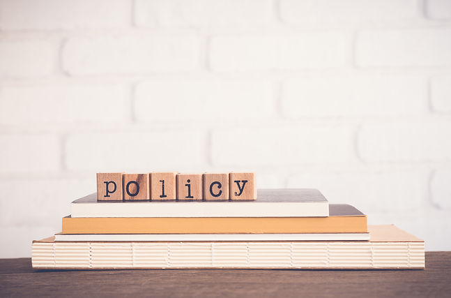 The word Policy, alphabet on wooden rubb