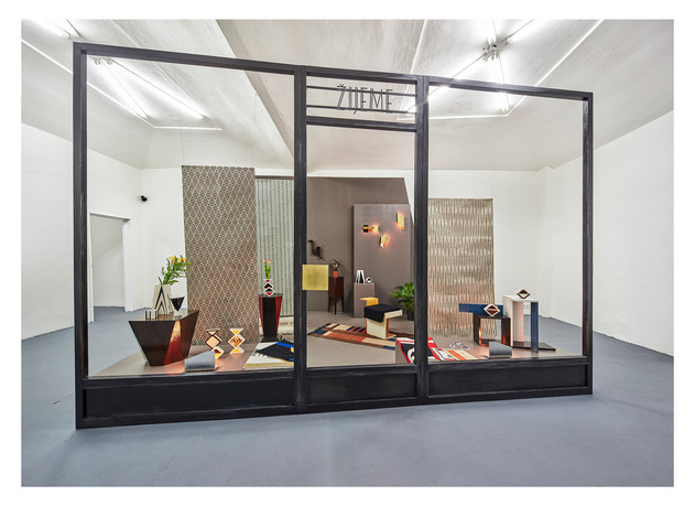 Zijeme, Brno 1928 - 1931, 2017, ViPer Gallery, Prague Woven tapestries, wooden objects, furniture, drawings, metal structure, sculptural objects, lightbulbs, framed photographs