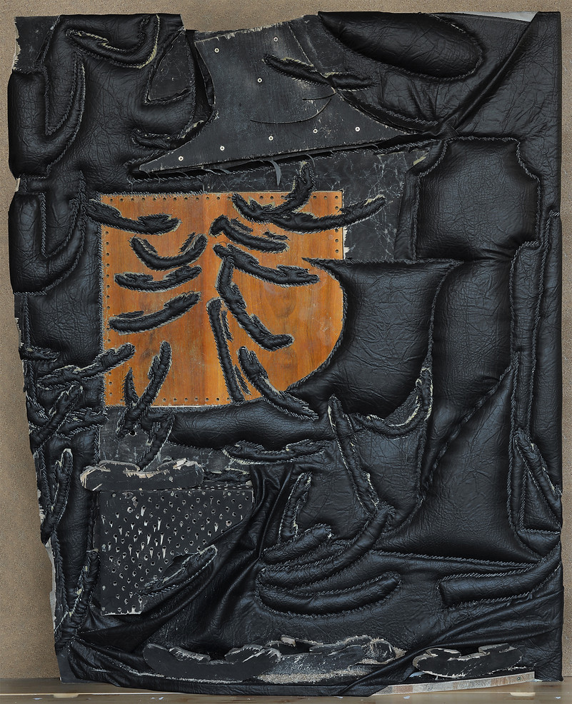 Untitled, 2018, pleather, plywood, upholstery foam, chipboard, staples.