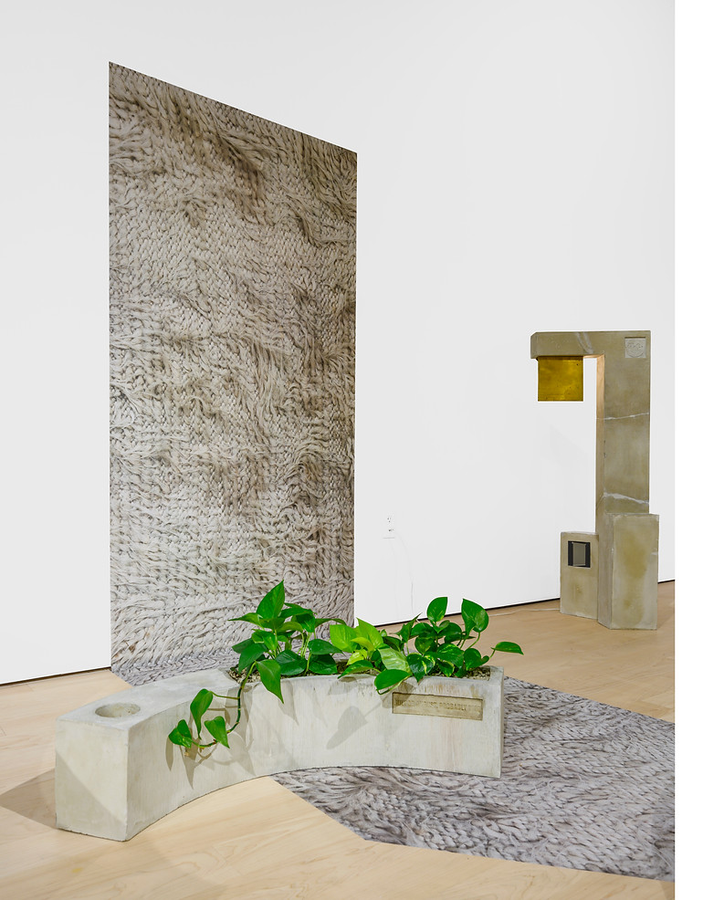 Irrational Attachments, Providence College Galleries, 2019-2020, Concrete, vinyl, plants, digital images, brass, plexiglass, lightbulb, textiles