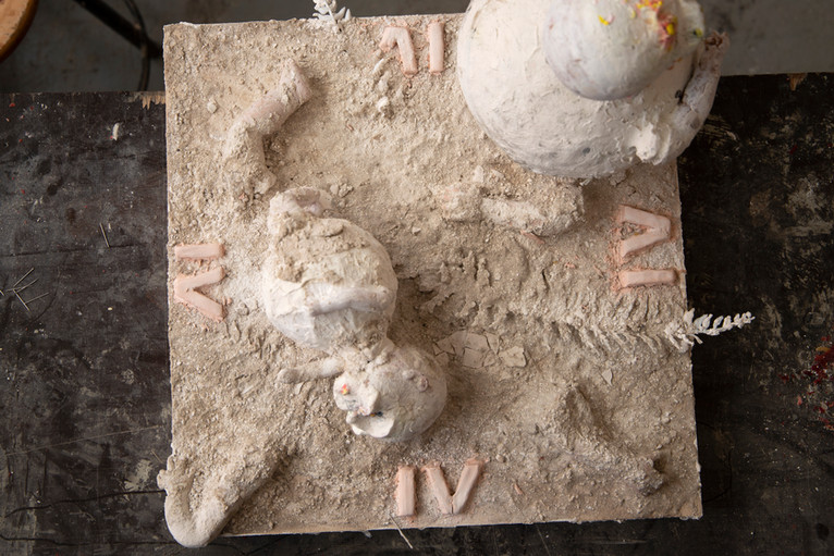 Plastic and plaster artist's model (front view)