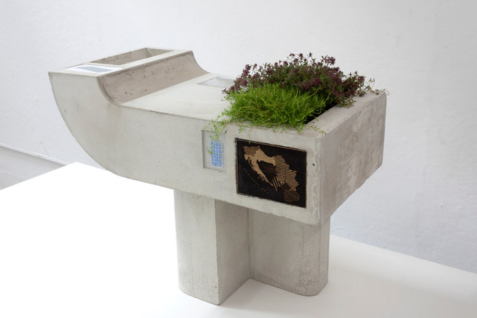 Planter for Creeping Thyme, July or August, probably 1978, Cement, thyme plants, plexiglass, digital image, masonite, drawing on paper, 2019