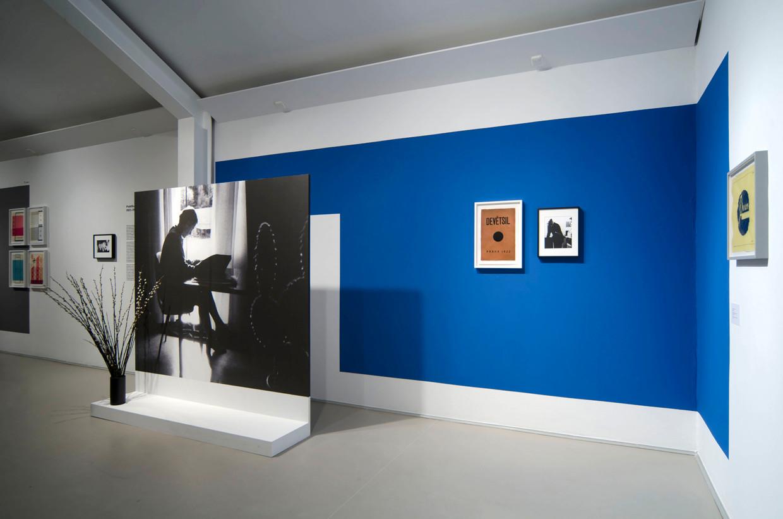 Nová Strana, Kunstverein Langenhagen, 2014, Installation view, Drawings, silver gelatin prints, architectural models, furniture, vinyl letters, wall paint, digital images, free standing walls
