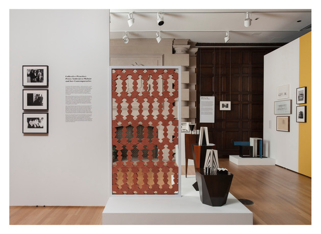 Petra Andrejova-Molnár: Contributions and Collaborations, Neubauer Collegium, University of Chicago, 2015, Installation view, Terracotta bricks, steel, drawings, silver gelatin prints, architectural models, furniture, vinyl letters, wall paint, digital images, free standing walls