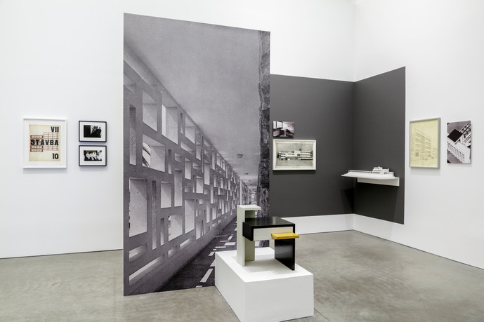 HOTEL NORD-SUD 1932-34: Design and Correspondence, Institute of Contemporary Art, Boston, 2013, Installation view, Drawings, silver gelatin prints, architectural models, furniture, vinyl letters, wall paint, digital images, free standing walls