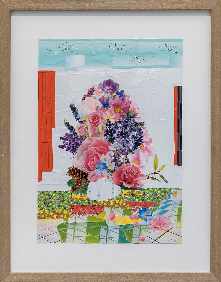 Still Life with a Bouquet of Flowers, from The Cleaning Collages, 2018, Photo: Øystein Thorvaldsen
