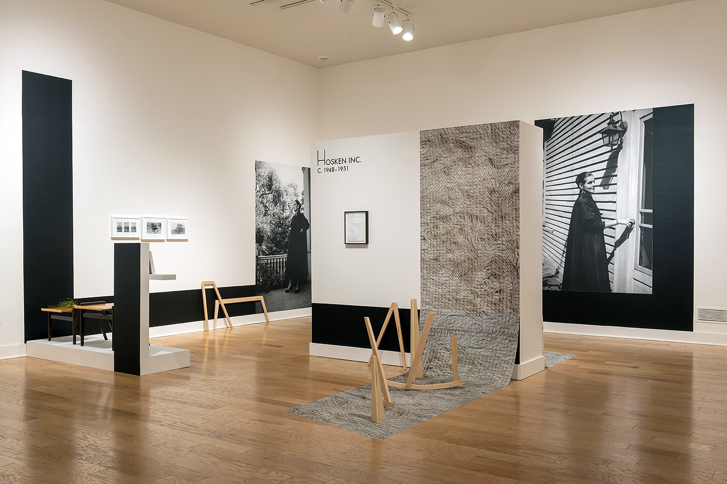 Hosken Inc. ca. 1948-1951, Interior Effects, 2017, Fitchburg Art Museum, 2018, Wood, furniture, silver gelatin prints, vinyl letters, digital images
