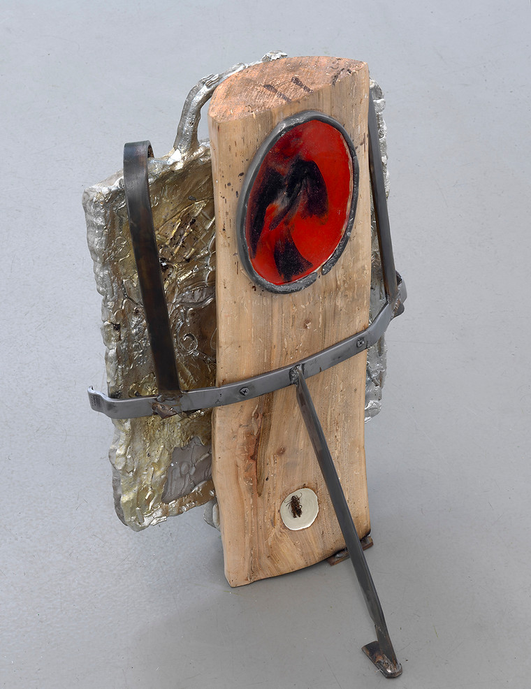You, too, know that you live, 2019, Steel, pewter, carved and sanded, firewood, Scarlet Tanager, Psyrassa, Unicolor, enamel paint, resin,(front)