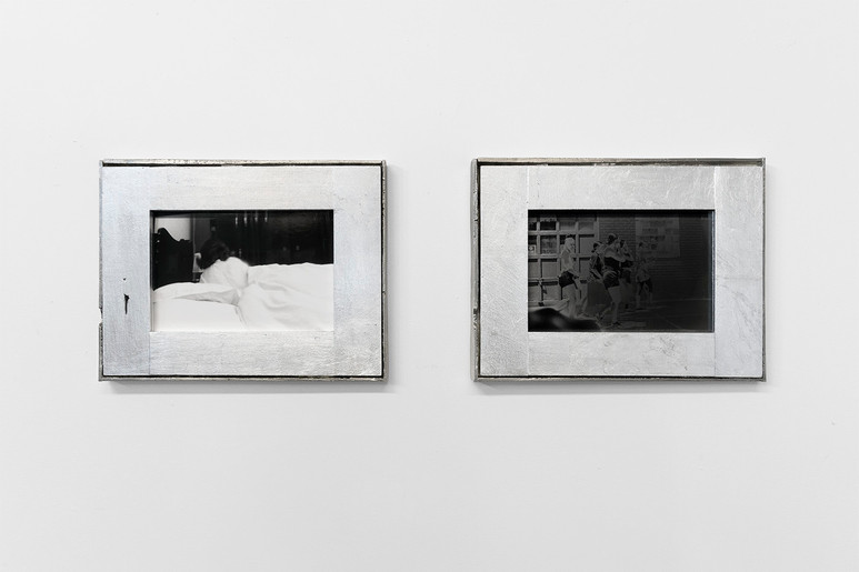 A Little Language Like Lovers Use pewter, aluminum leaf, silver gelatin prints.  The left image in this photographic diptych was taken during a projection of Jeanne Dielman, 23 Commerce Quay, 1080 Brussels, Chantal Akerman's 1975 study of stasis, containment, time and domestic anxiety. The photograph on the right depicts five teenage girls on their way to a protest the week following the murder of George Floyd by Minneapolis police. The title, A Little Language Like Lovers Use, is taken from the following passage in Virginia Woolf's The Waves:  I need a little language like lovers use, words of one syllable..... I need a howl; a cry. When the storm crosses the marsh and sweeps over me where I lie in the ditch unregarded I need no words. Nothing neat, Nothing that comes down with all its feet on the floor, none of these resonances and lovely echos.
