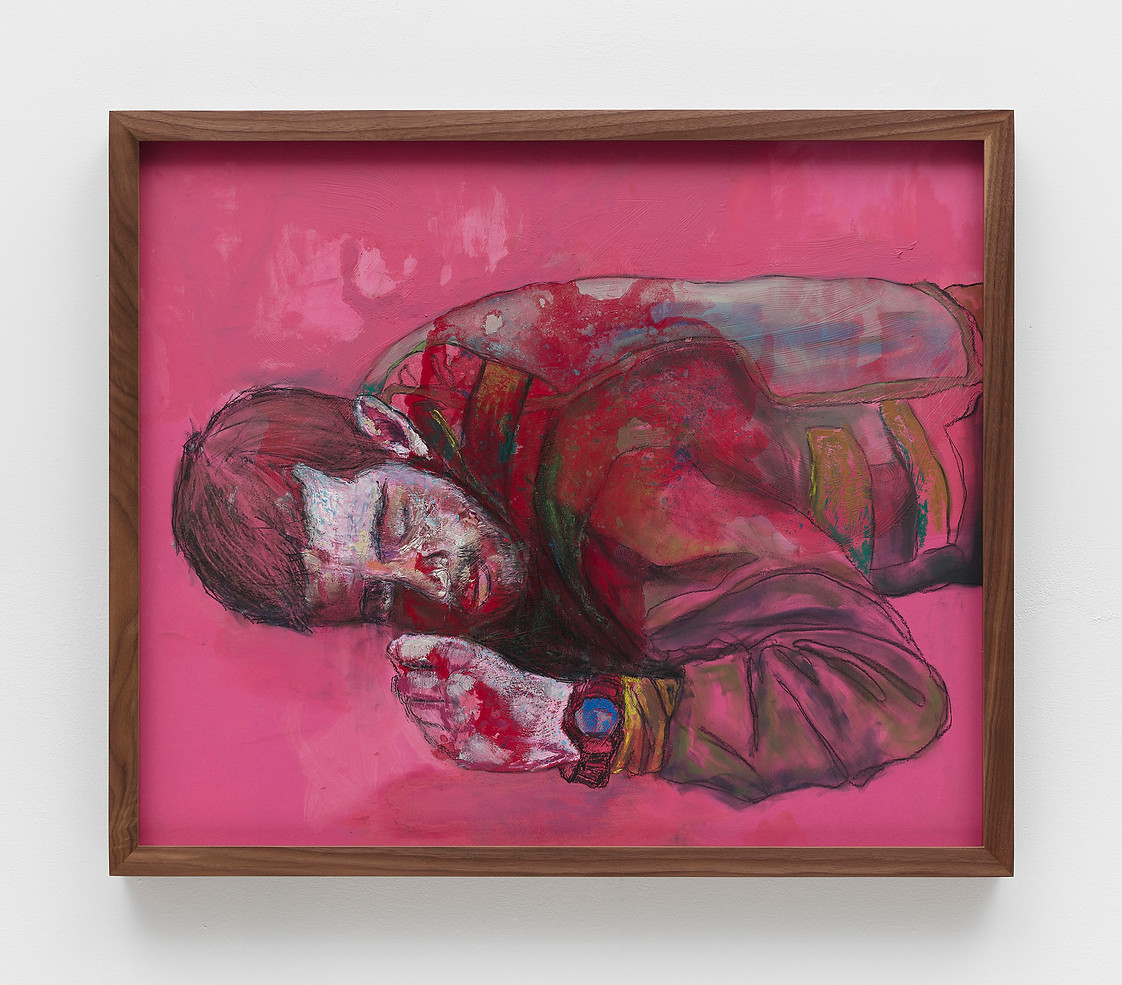 Suggested Occupation 9, 2017- 2018 acrylic, charcoal, encaustic, and pastel on seamless paper in artist's frame. Photo©Joerg Lohse