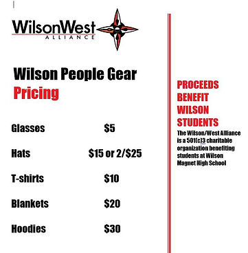 Wilson People Gear merchandise including glasses, hats, t-shirts, blankets, and hoodies