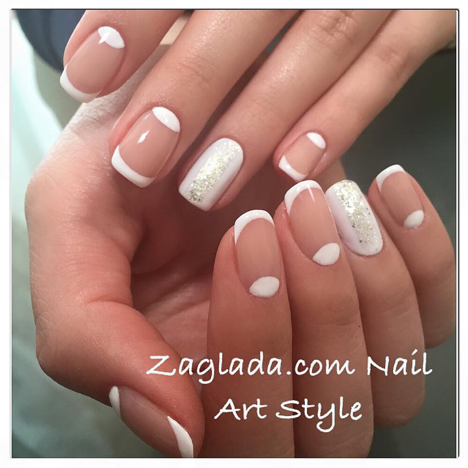 Shellac Half Moon & French Nail Art