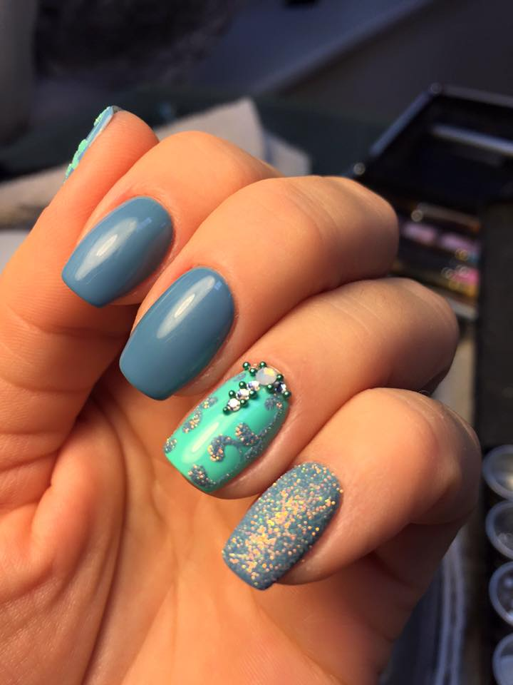 Mint Blue Shellac Nail Art