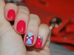 Coral Red Shellac Nail Art