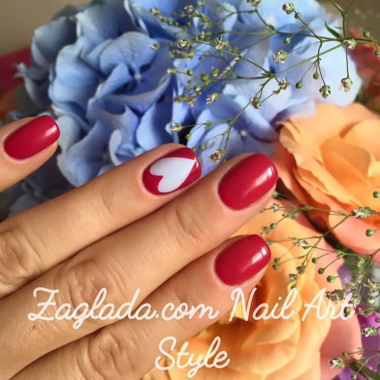 Red Shellac & Light blue Heart Nail