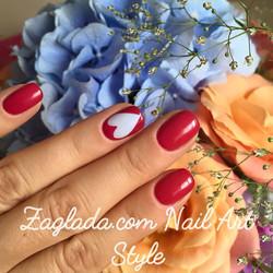 Red Shellac & Light blue Heart Nail