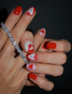 Valentine Hearts Nail Art