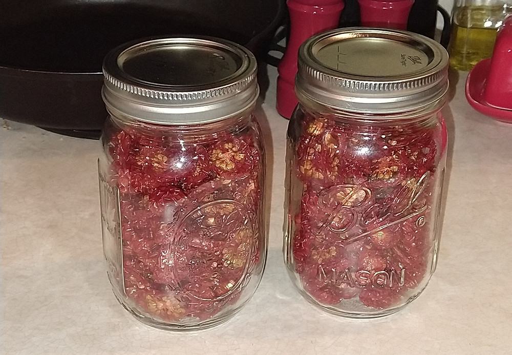 Two pint sized jars of dehydrated cherry tomatoes