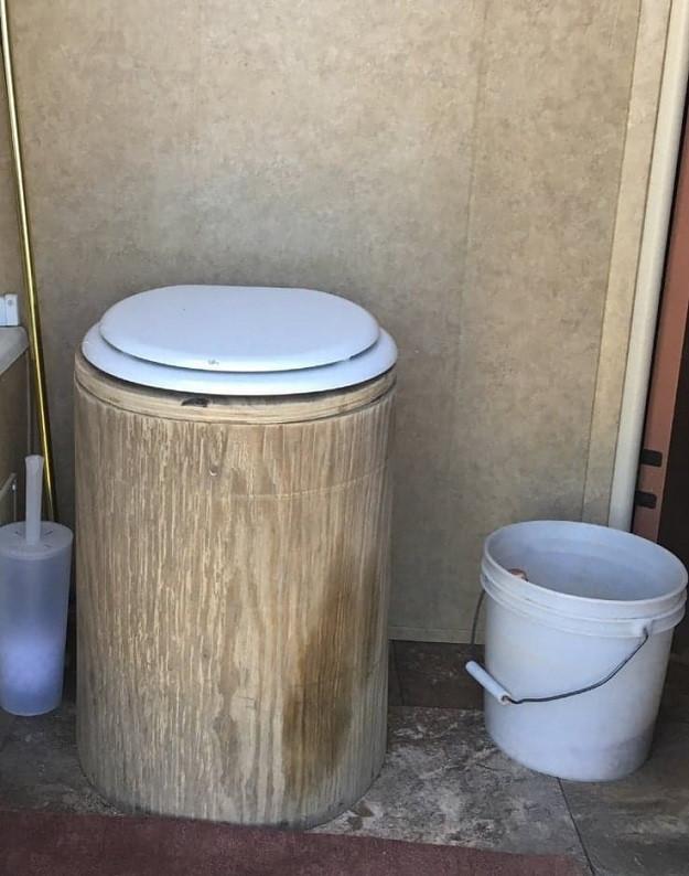 Makeshift non flushing toilet.