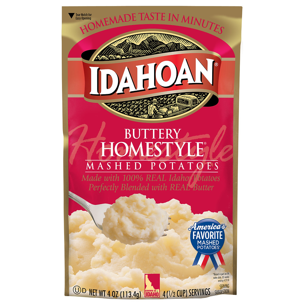 package of idahoan buttery homestyle instant mashed potatoes in a bag