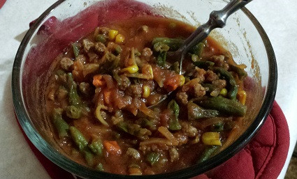 Hamburger veggie soup meal-in-a-bag, meals-in-a-jar, backpacking, camping, hiking, long term food storage.