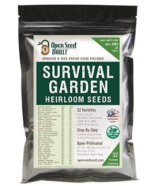 A package of Survival Garden Heirloom Seeds