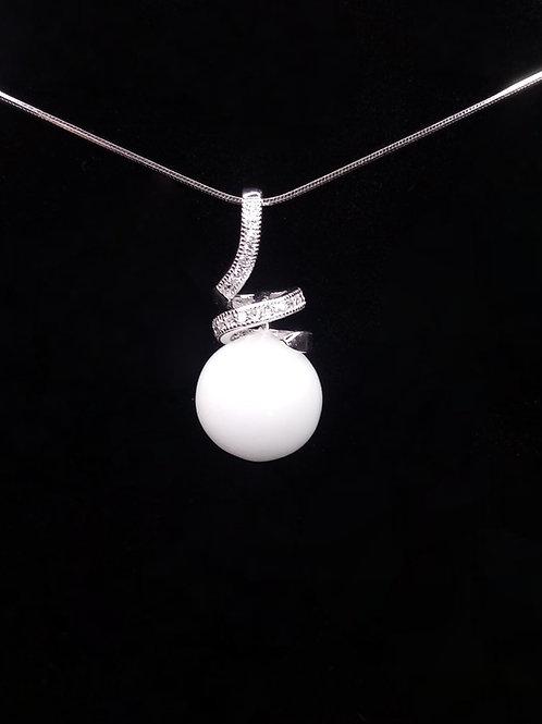 Pendentif torsadé et perle de lait- argent 925