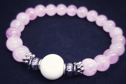 Bracelet en quartz rose et perle de lait