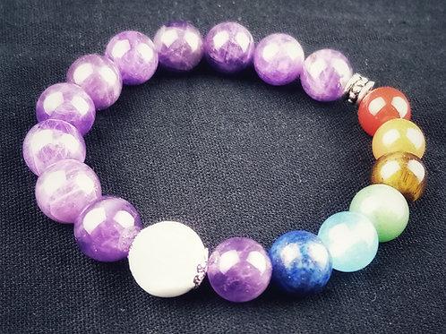 Bracelet chakras et perle de lait