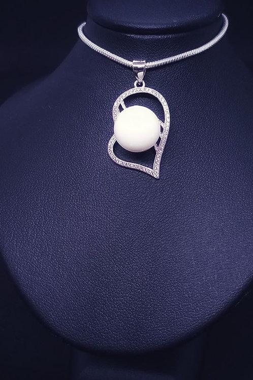 Pendentif coeur zircons - argent 925