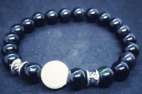 Bracelet en pierres naturelles black obsidian et perle de lait