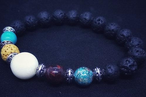 Bracelet en pierres naturelles de lave et perle de lait