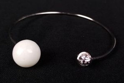 Bracelet réglable  Argent 925 rhodié avec zirconium
