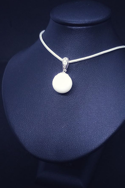 Pendentif simple perle de lait- argent 925