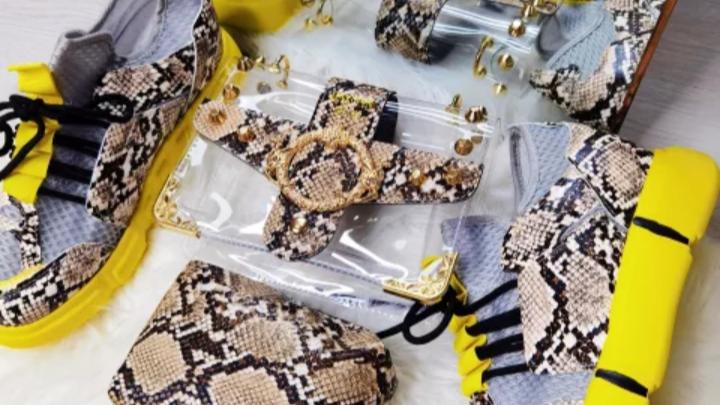 Snake skin hand bag and shoes set,