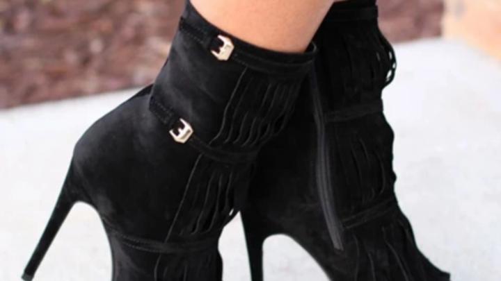 Fashion Designer Fringe Peep Ankle Boots,