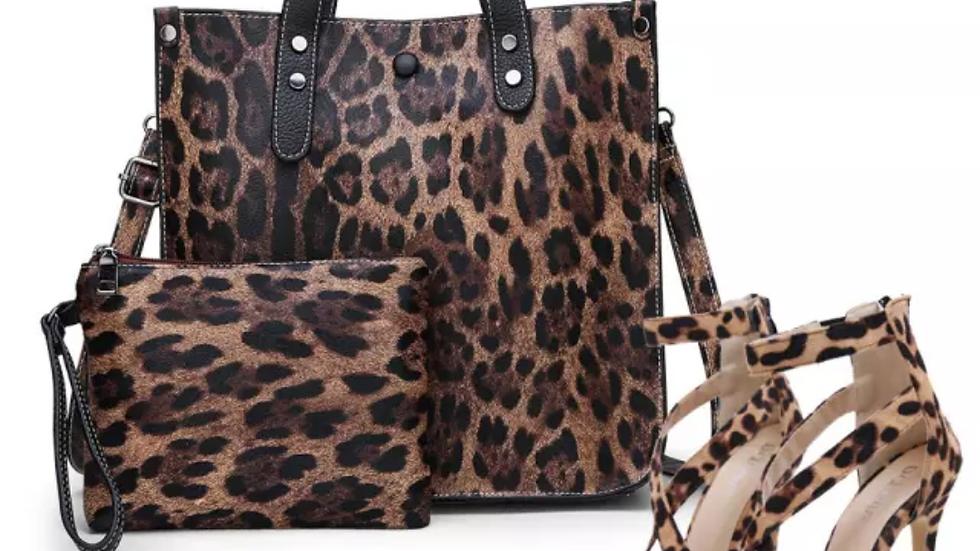 Leopard design leather bag and shoe set