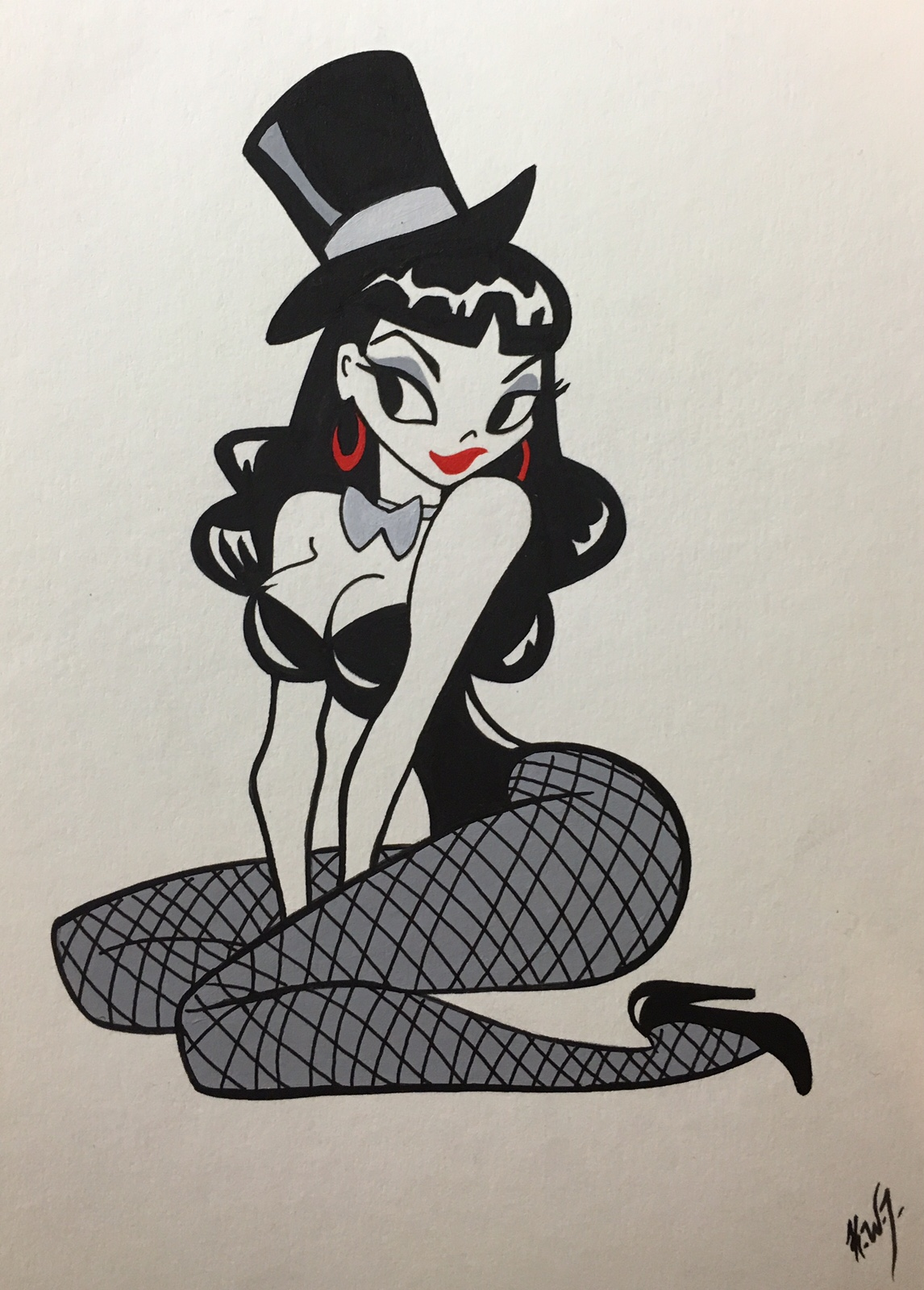pinup tophat fishnets