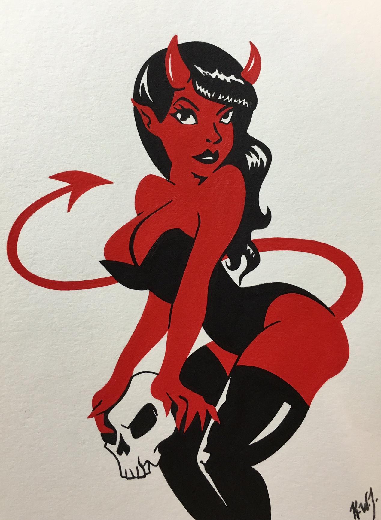 pinup devil girl skull