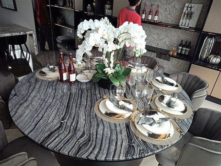 Marble Dining Table - Black Forest
