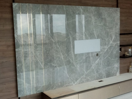Marble Feature Wall - Hermes Grey Marble