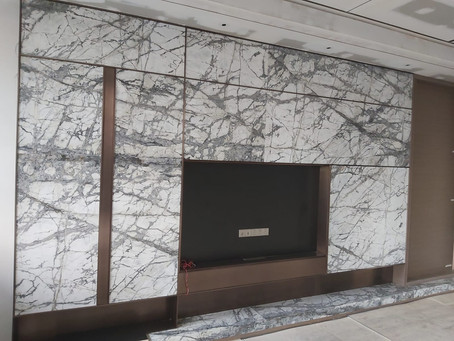 TV Feature Wall - Invisible Grey Marble ( Natural Stone )