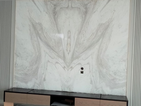 Marble Feature Wall - Volakas Marble