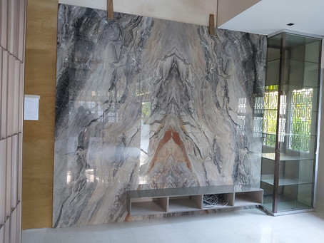 TV Feature Wall - Natural Marble - Grigio Orobico Marble