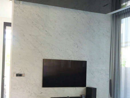 TV Feature Wall - Natural Marble - Carrara Moon Face
