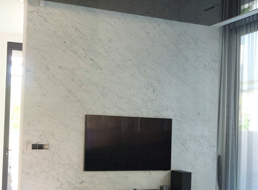 Marble Feature Wall - Carrara Moon Face Marble